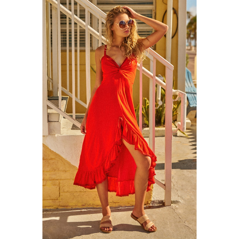 Красное платье Leia Midi Red Dress Peixoto